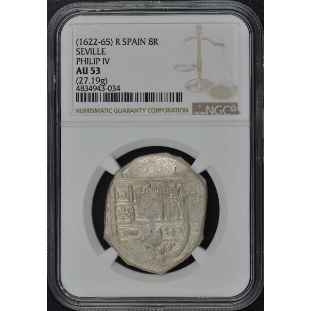 1622-65 R SPAIN 8R Reales Cob NGC AU55 Seville Philip IV