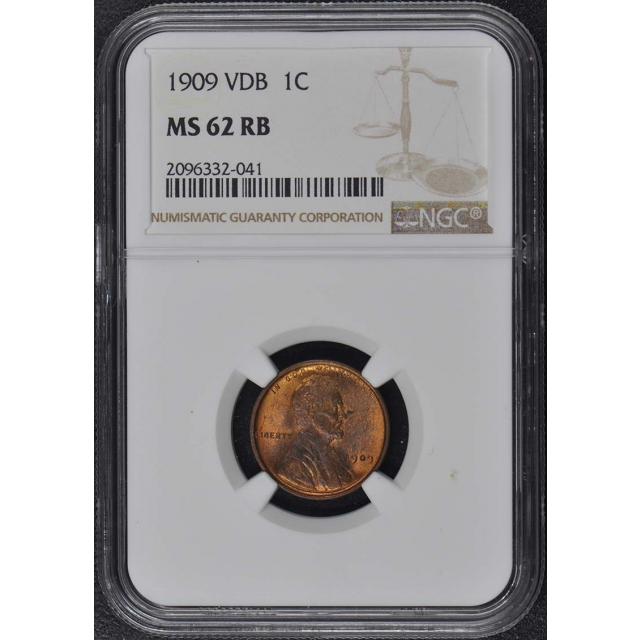 1909 VDB Wheat Reverse Lincoln Cent 1C NGC MS62RB