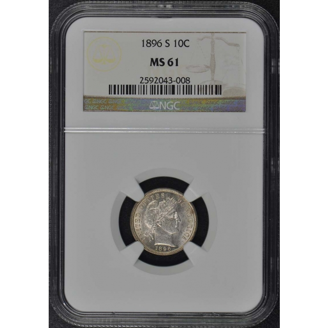 1896-S Barber Dime 10C NGC MS61