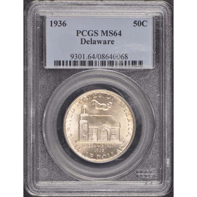 DELAWARE 1936 50C Silver Commemorative PCGS MS64