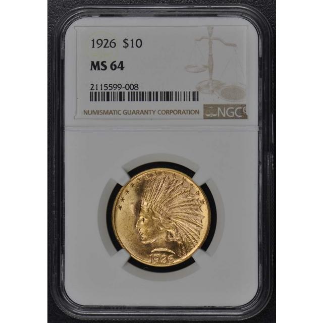 1926 Indian $10 NGC MS64