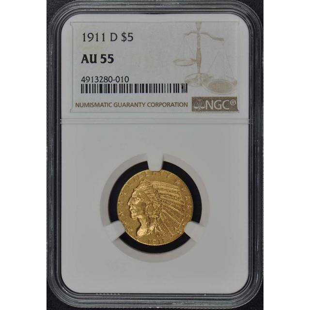 1911-D Indian $5 NGC AU55