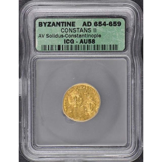 Constans II 654-659 AD Byzantine AV SolidusByzantine ICG AU58