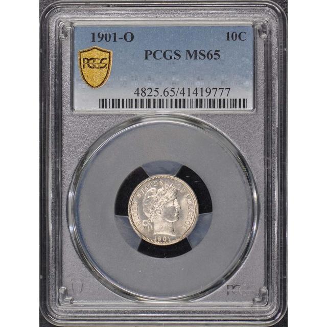 1901-O 10C Barber Dime PCGS MS65