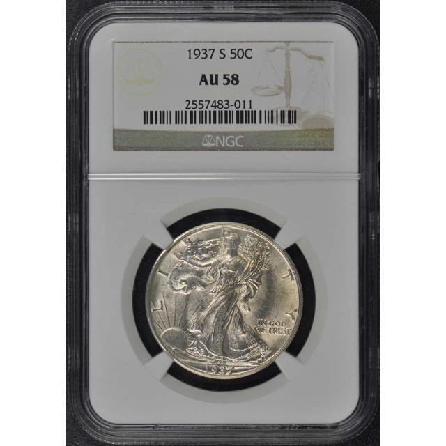 1937-S Walking Liberty Half Dollar 50C NGC AU58
