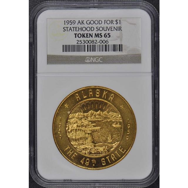 1959 AK Statehood Souvenir NGC MS65 Token Good for $1