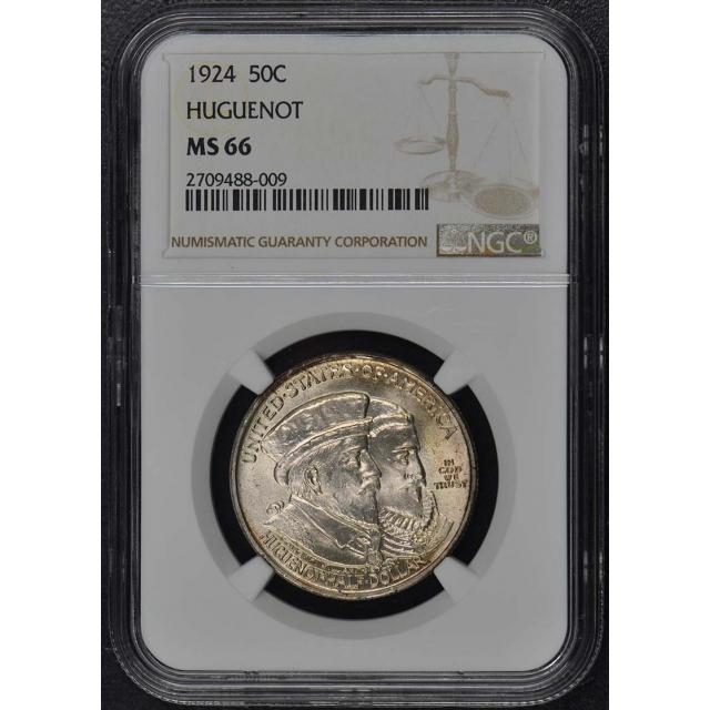 HUGUENOT 1924 Silver Commemorative 50C NGC MS66