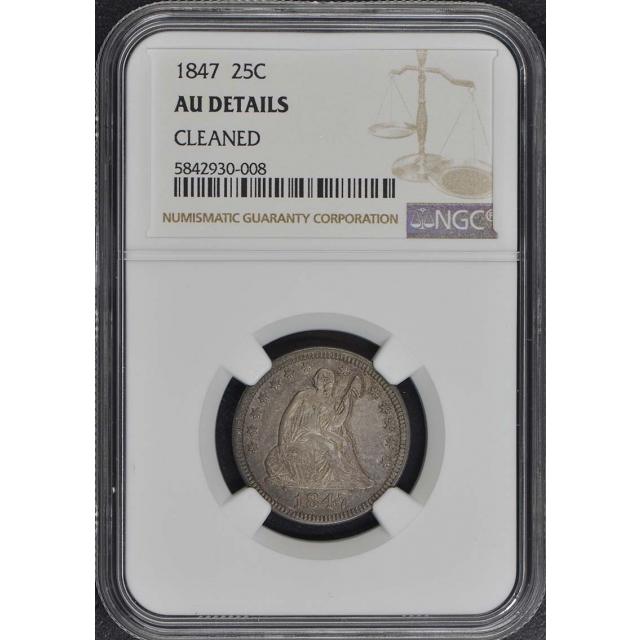 1847 No Motto Seated Liberty Quarter 25C NGC AU Details