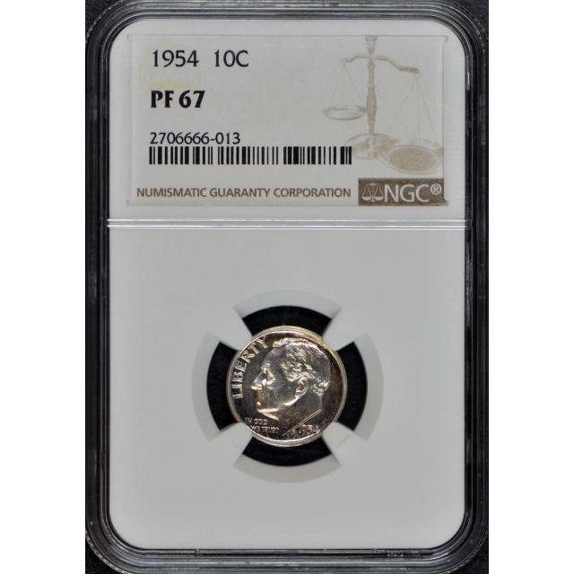 1954 Roosevelt Dime (Silver) 10C NGC PR67