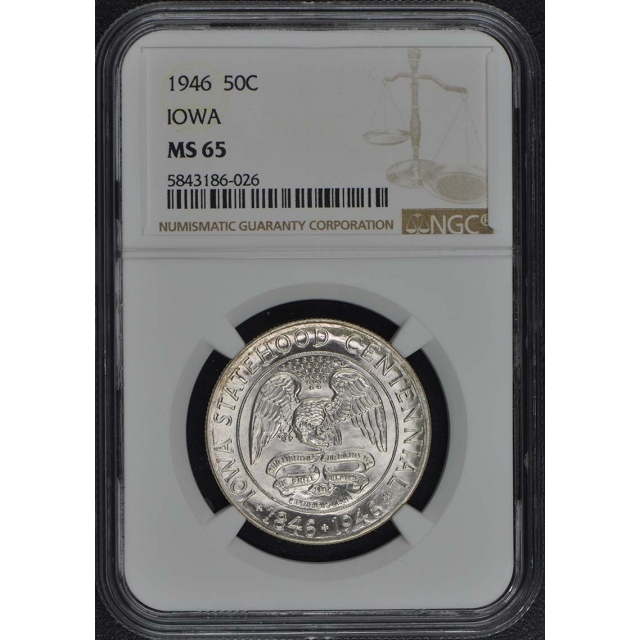 IOWA 1946 Silver Commemorative 50C NGC MS65