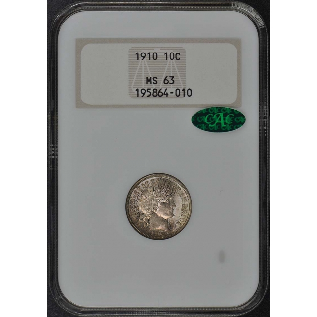 1910 Barber Dime 10c NGC MS-63 OLD Holder CAC