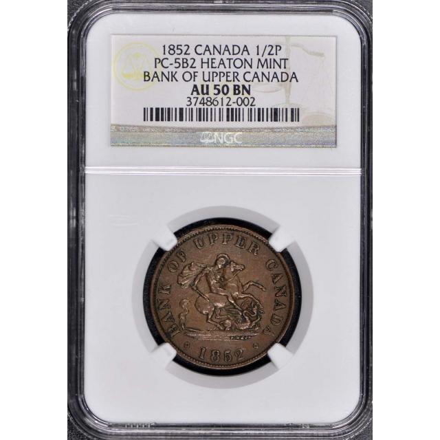 1852 Canada 1/2P PC-5B2 NGC AU50 BN Upper Canada Token Heaton Mint