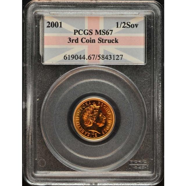 2001 1/2 Sov Half Sovereign PCGS MS67 3rd Coin Struck