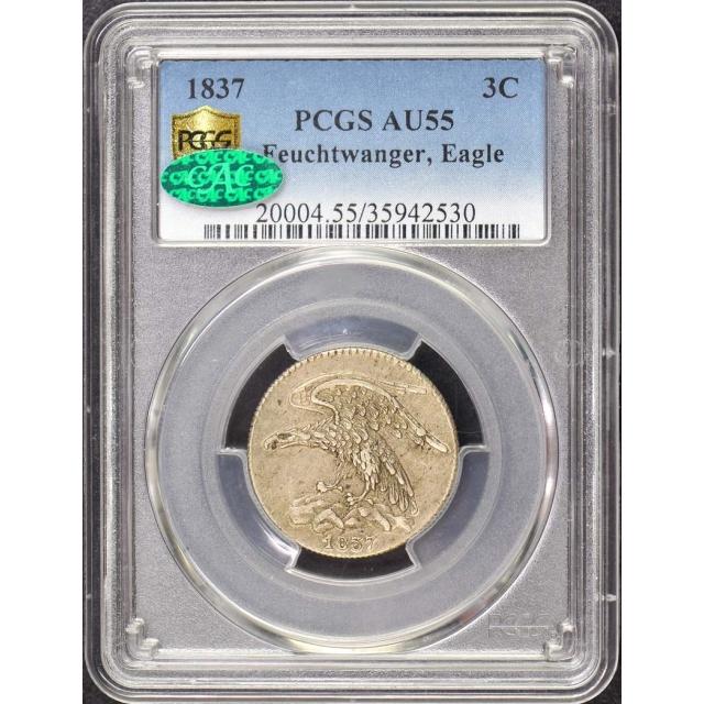 1837 3C Feuchtwanger-Eagle PCGS AU55 (CAC)