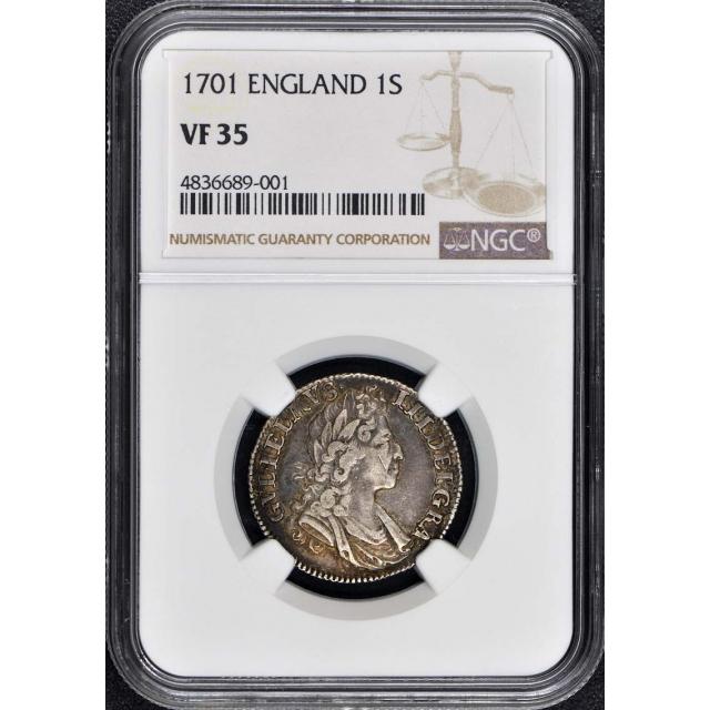 1701 England 1s shilling NGC VF35