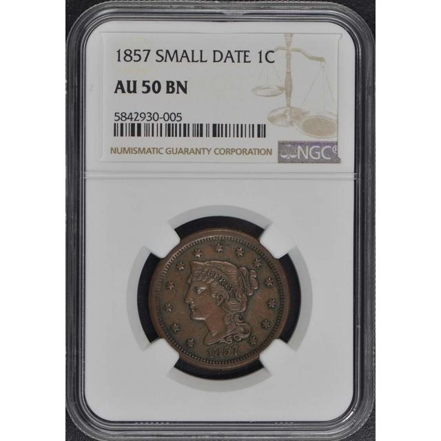 1857 SMALL DATE Coronet, Braided Hair Cent 1C NGC AU50BN