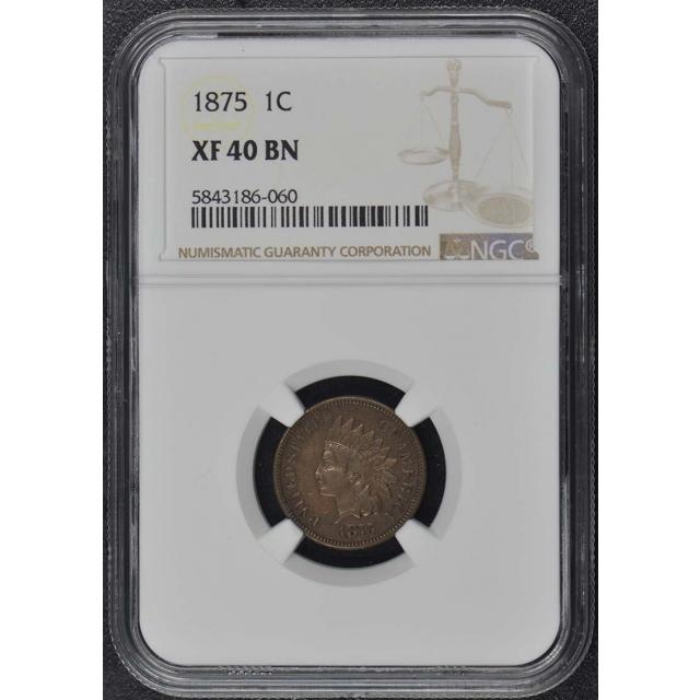 1875 Bronze Indian Cent 1C NGC XF40BN
