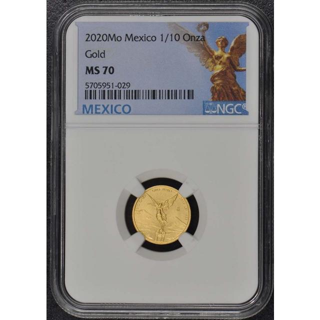 2020 Mo Mexico 1/10 oz Onza Libertad Gold NGC MS70 Mintage 700
