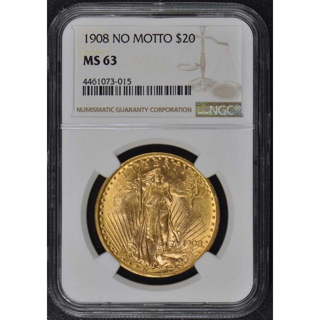 1908 NO MOTTO Saint-Gaudens $20 NGC MS63