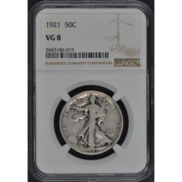 1921 Walking Liberty Half Dollar 50C NGC VG8