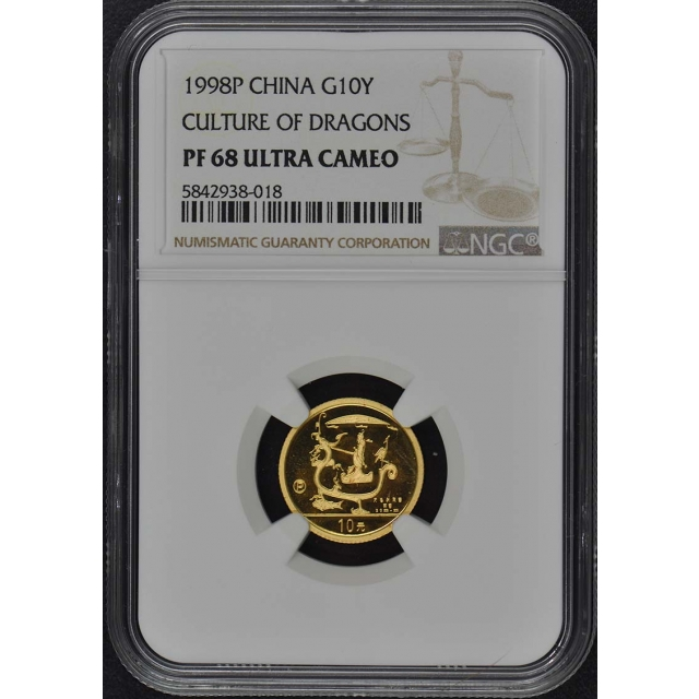 1998P CHINA CULTURE OF DRAGONS G10Y NGC PR68DCAM