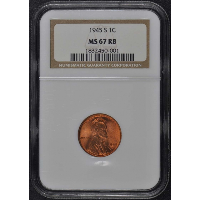 1945-S Wheat Reverse Lincoln Cent 1C NGC MS67RB