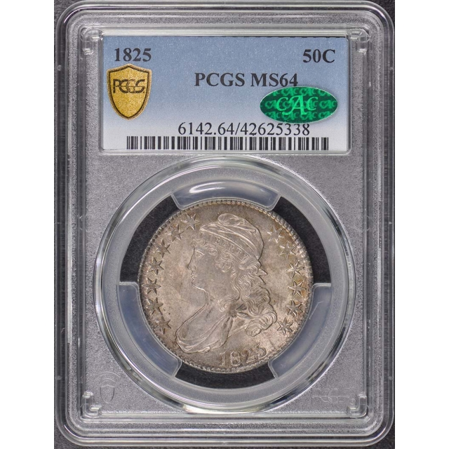1825 50C Capped Bust Half Dollar PCGS MS64 (CAC)