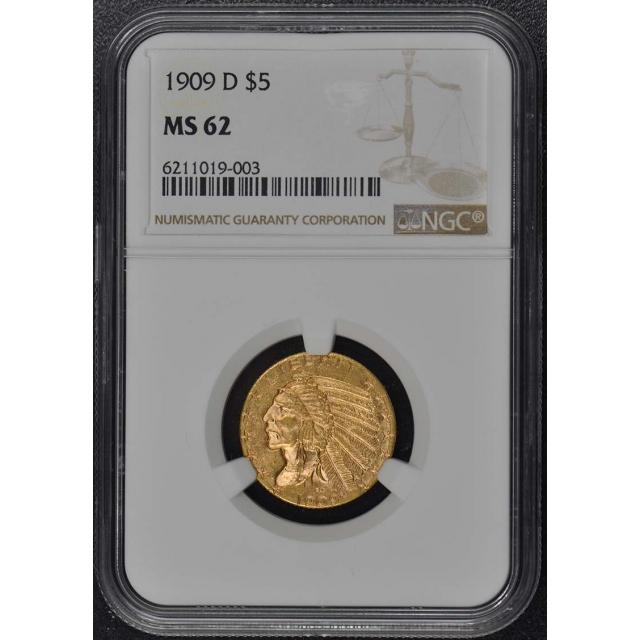 1909-D Indian $5 NGC MS62