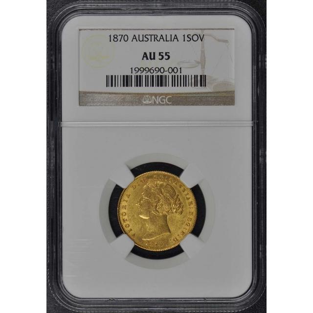 1870 AUSTRALIA 1SOV NGC AU55