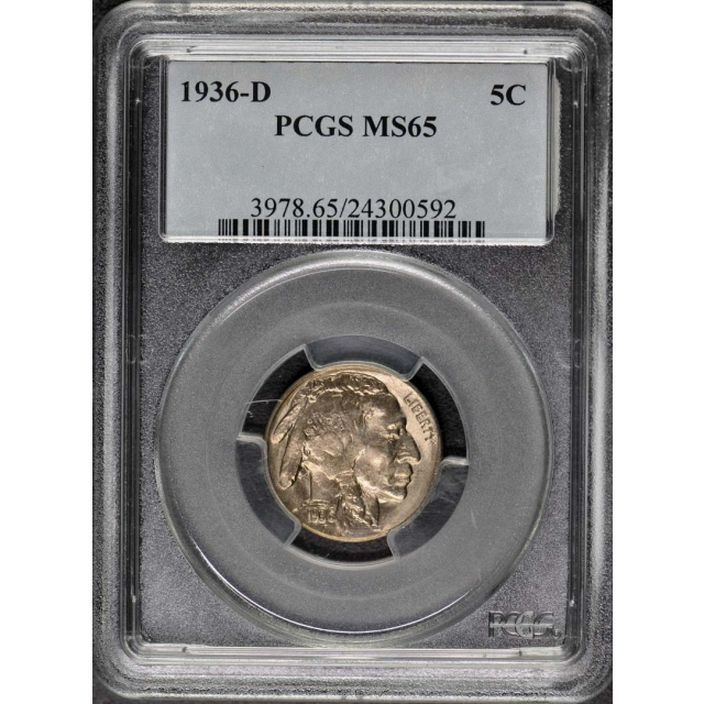 1936-D 5C Buffalo Nickel PCGS MS65