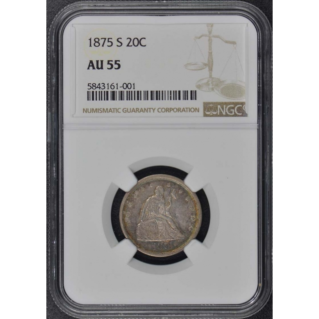 1875-S Twenty-Cent Piece 20C NGC AU55