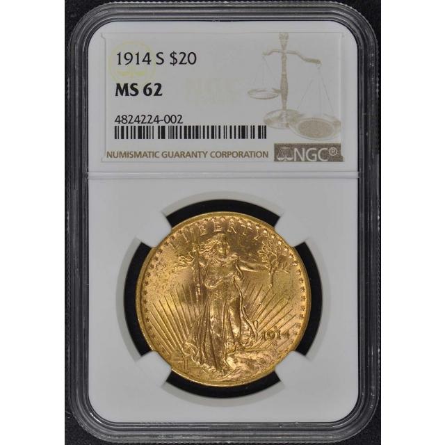 1914-S Saint-Gaudens $20 NGC MS62