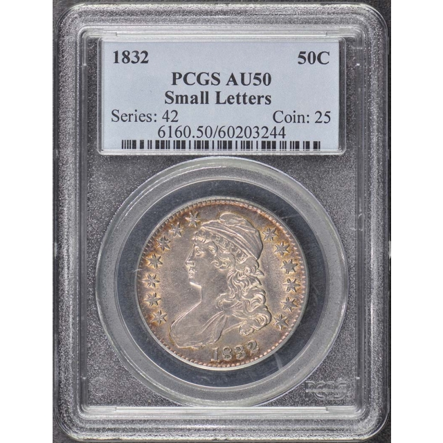 1832 50C Small Letters Capped Bust Half Dollar PCGS AU50