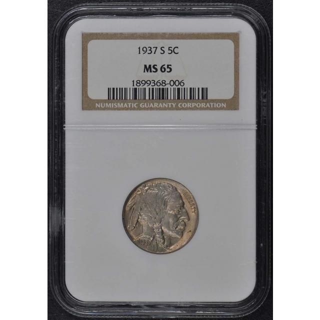 1937-S Buffalo Nickel Type 2 5C NGC MS65