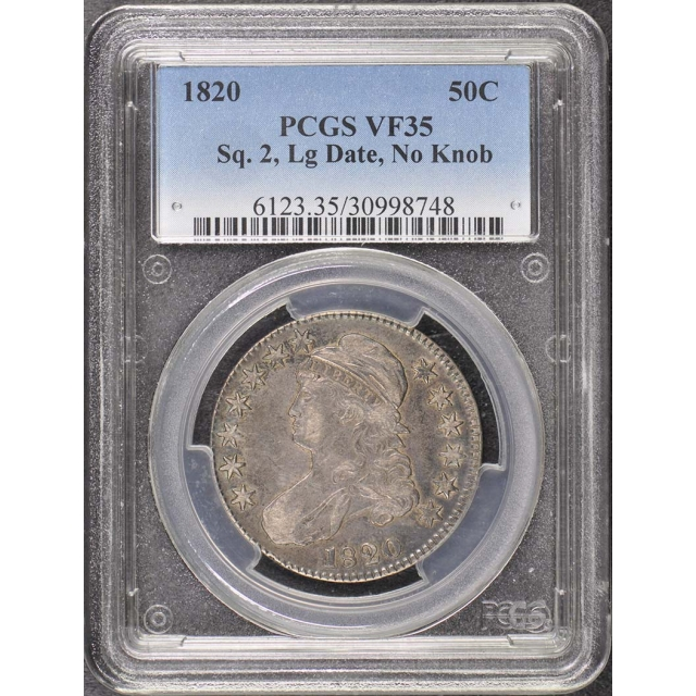 1820 50C Square 2, Large Date, No Knob Capped Bust Half Dollar PCGS VF35