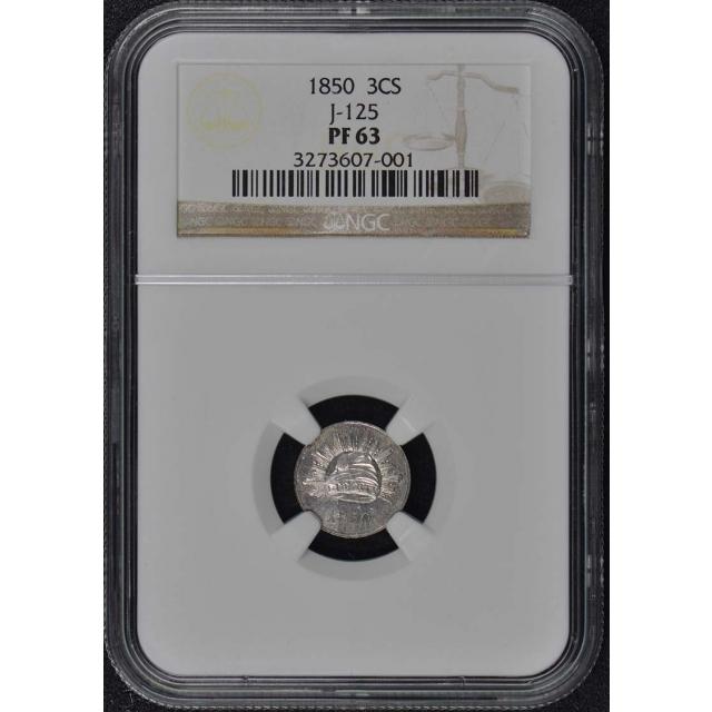 1850 Pattern J-125 3CS NGC PR63 Liberty Cap