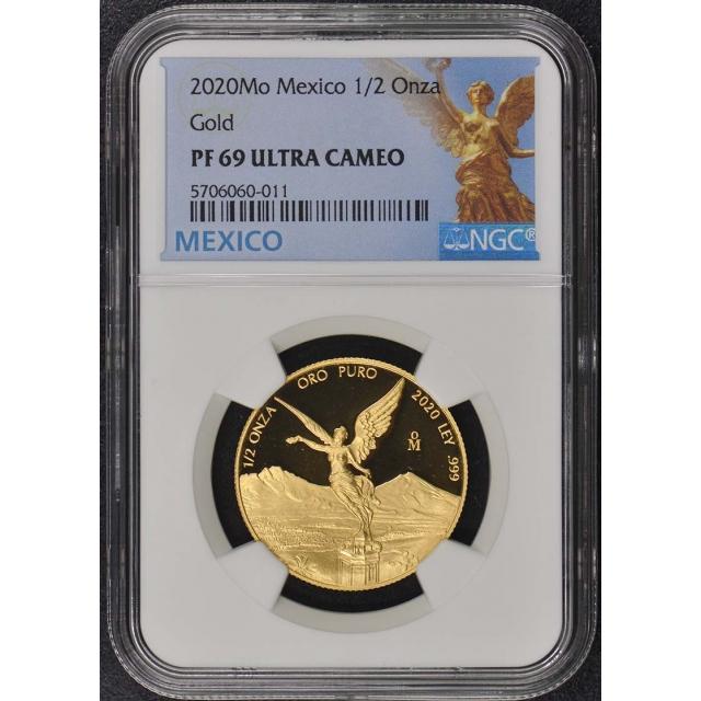 2020 Mo Mexico 1/2 Onza Libertad Gold NGC PF69 UC Mintage 250