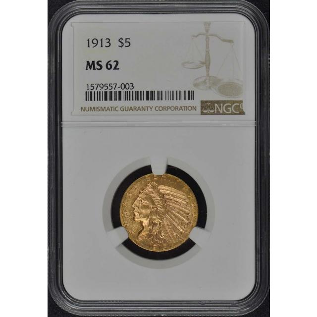 1913 Indian $5 NGC MS62