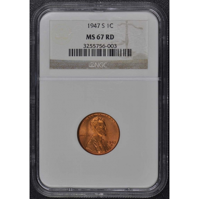1947-S Wheat Reverse Lincoln Cent 1C NGC MS67RD