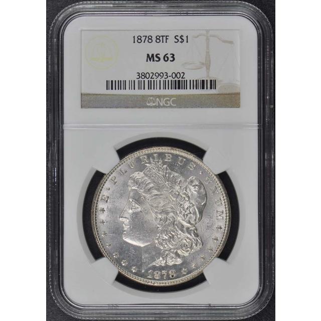 1878 8TF Morgan Dollar S$1 NGC MS63