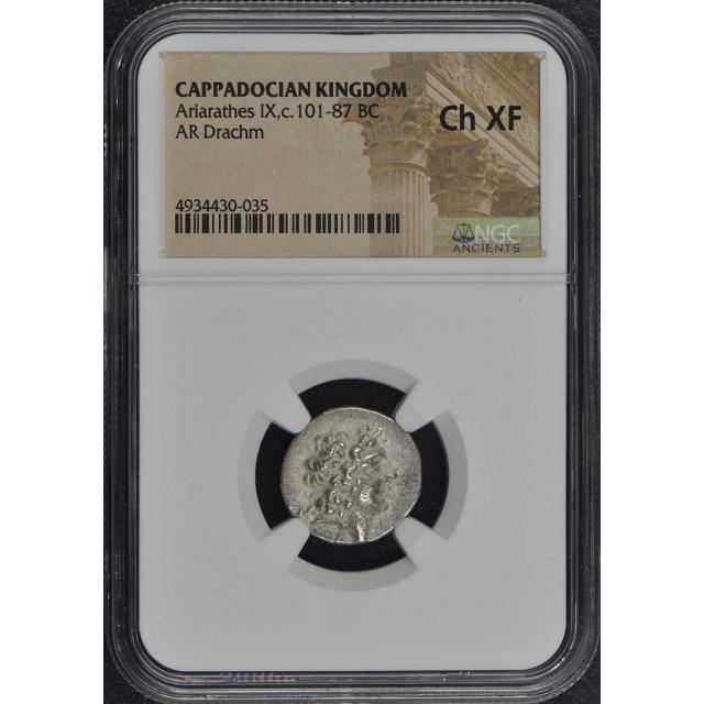 Ariarathes IX,c.101-87 BC CAPPADOCIAN KINGDOM AR Drachm NGC XF45