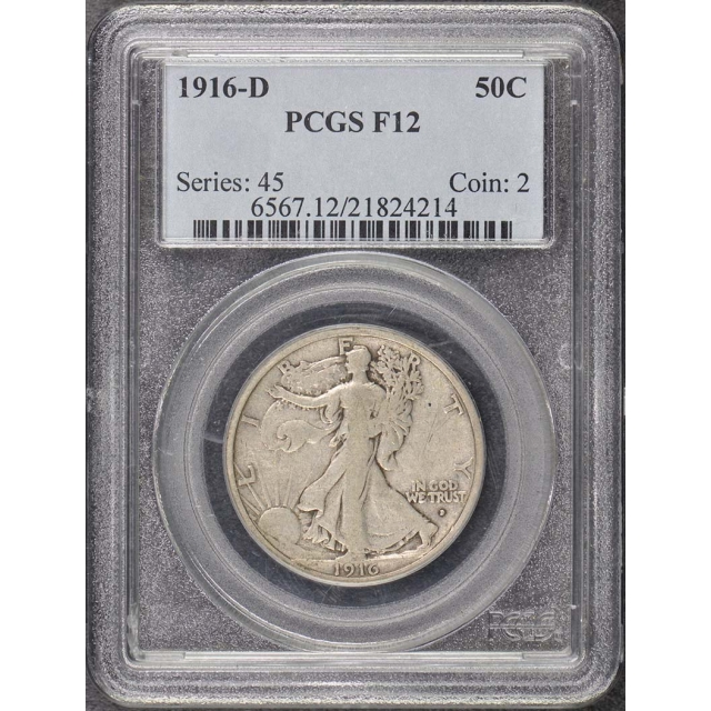 1916-D 50C Walking Liberty Half Dollar PCGS F12