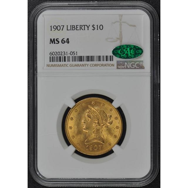 1907 Eagle - Motto $10 NGC MS64 (CAC)