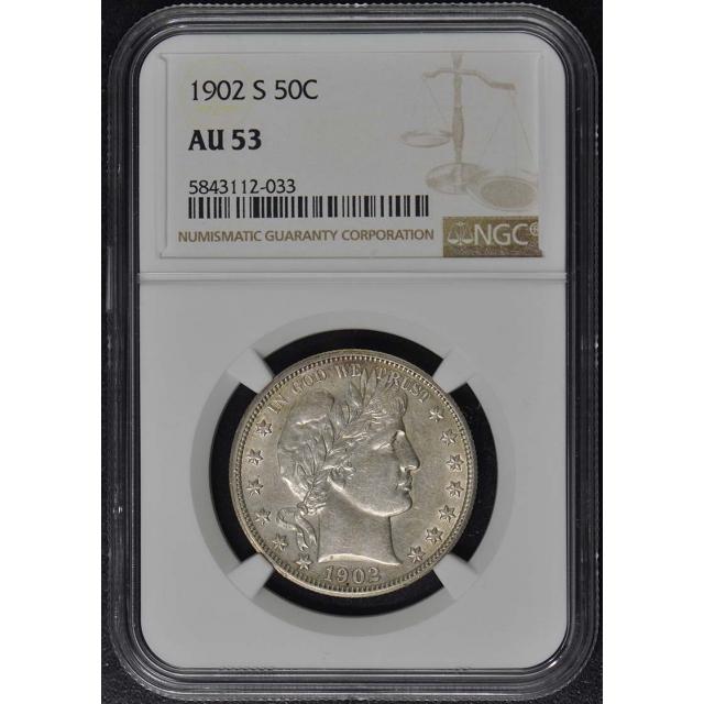1902-S Barber Half Dollar 50C NGC AU53