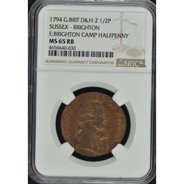 1794 G. B. D&H-2 NGC 65RB 1/2P Sussex Brighton Conder Token