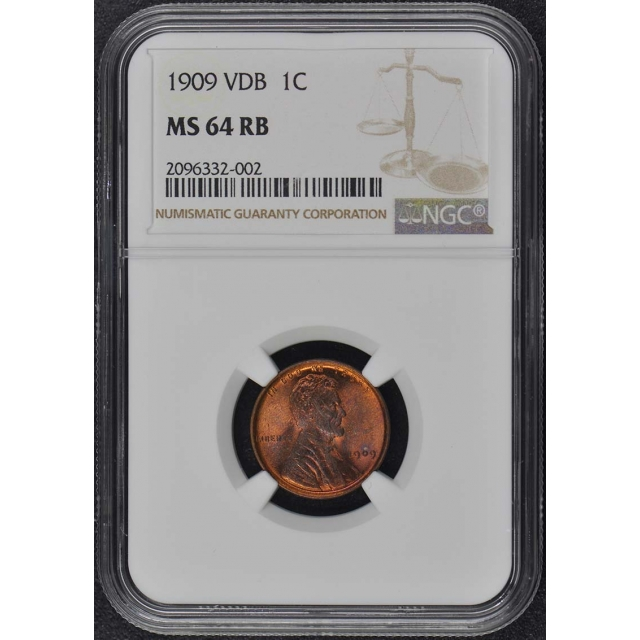 1909 VDB Wheat Reverse Lincoln Cent 1C NGC MS64RB