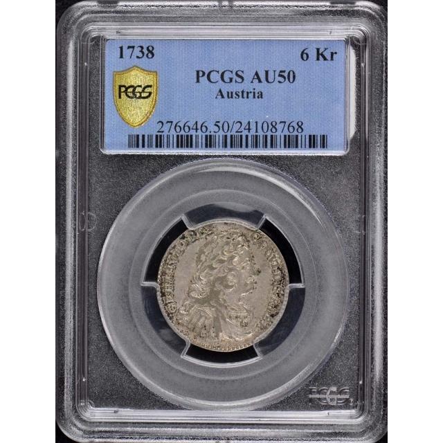 1738 Austria 6 Kr PCGS AU 50