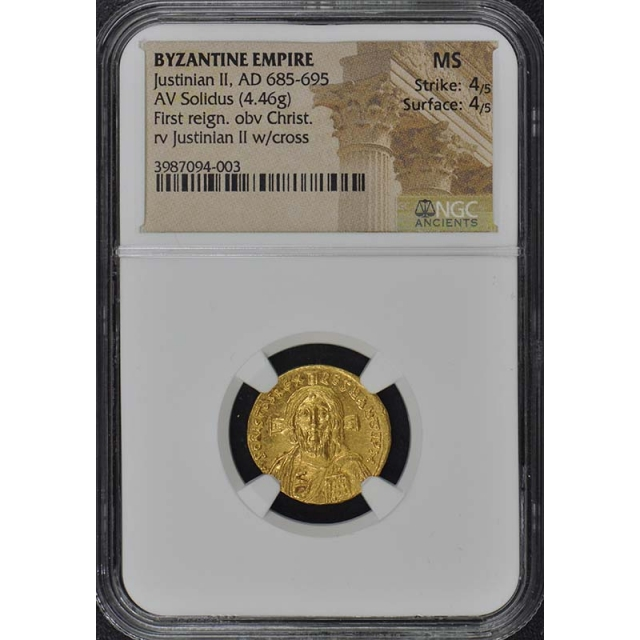 Justinian II, AD 685-695 BYZANTINE EMPIRE Solidus NGC MS60 Christ