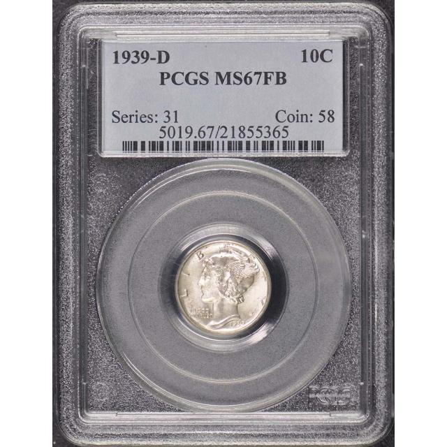 1939-D 10C Mercury Dime PCGS MS67FB
