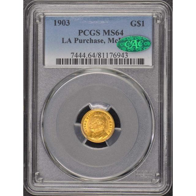 LA PURCHASE MCKINLEY 1903 G$1 Gold Commem PCGS MS64 (CAC)